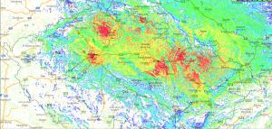 OK-DMR mapa pokrytí pro vozidlové radiostanice - stav 2016/06