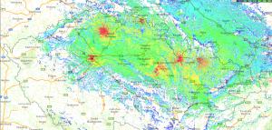 OK-DMR mapa pokrytí pro přenosné radiostanice - stav 2016/06