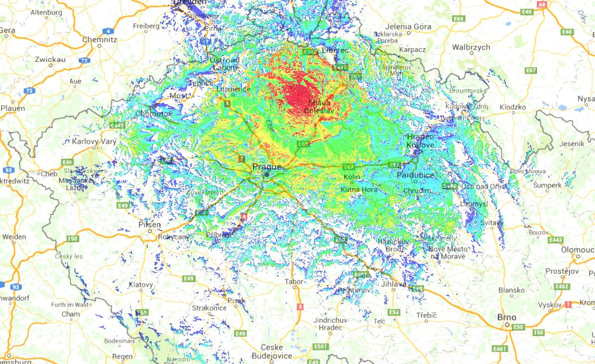 OK0DBZ mapa pokrytí vozidlové radiostanice