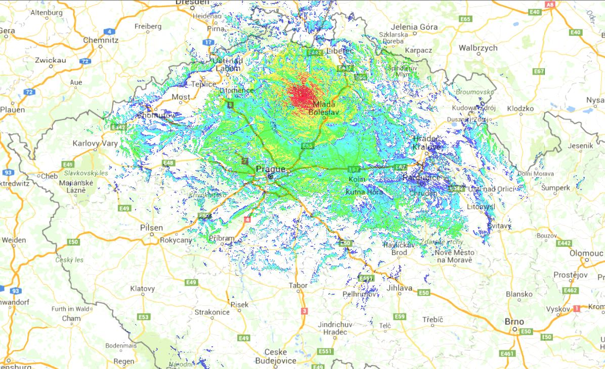 OK0DBZ mapa pokrytí přenosné radiostanice